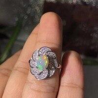 Almei Natural Fire Opal Ring for Women, 925 Sterling Silver Wedding Jewelry, 7*9mm Gemstone with Velvet Box Certificate FJ231