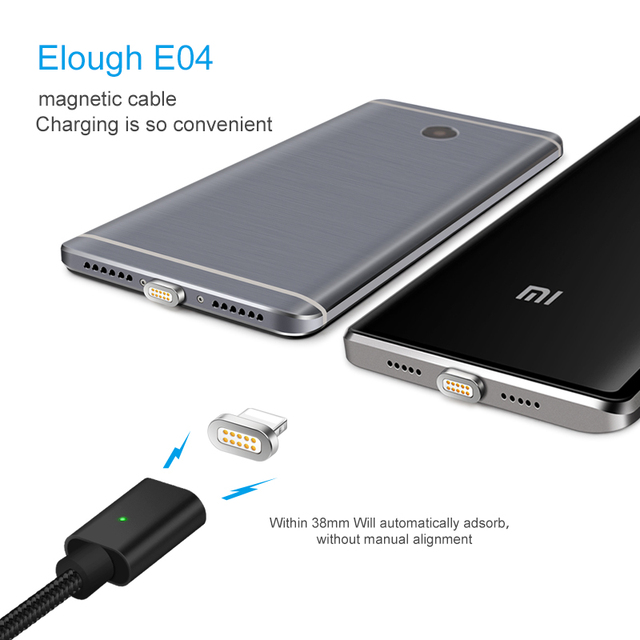 3 in 1 E04 Magnetic Charging Cable Micro USB Cable For iPhone Samsung S9 S8 Fast Magnet Charger USB Type C Cable