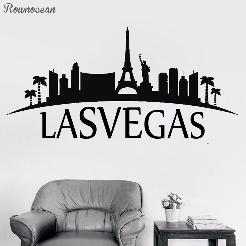 <font><b>Lasvegas</b></font> City Wall Sticker Vinyl Home Decor For Living Room Bedroom Decoration Decal Removable Mural House Sight Handmade CT17 image