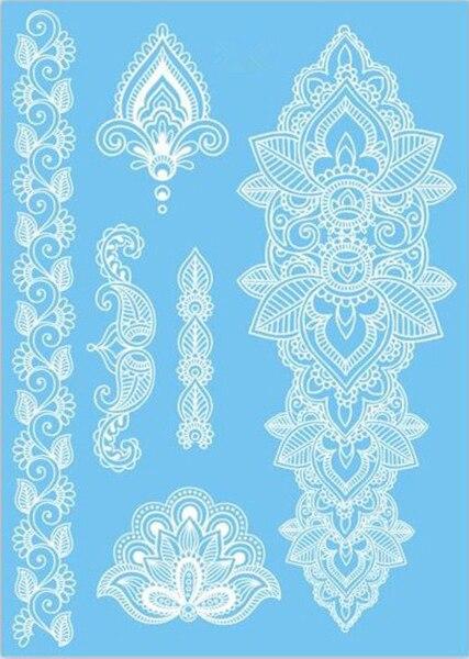 Desain Baru Putih Tahan Air Henna Tato Palsu Tato Transferable