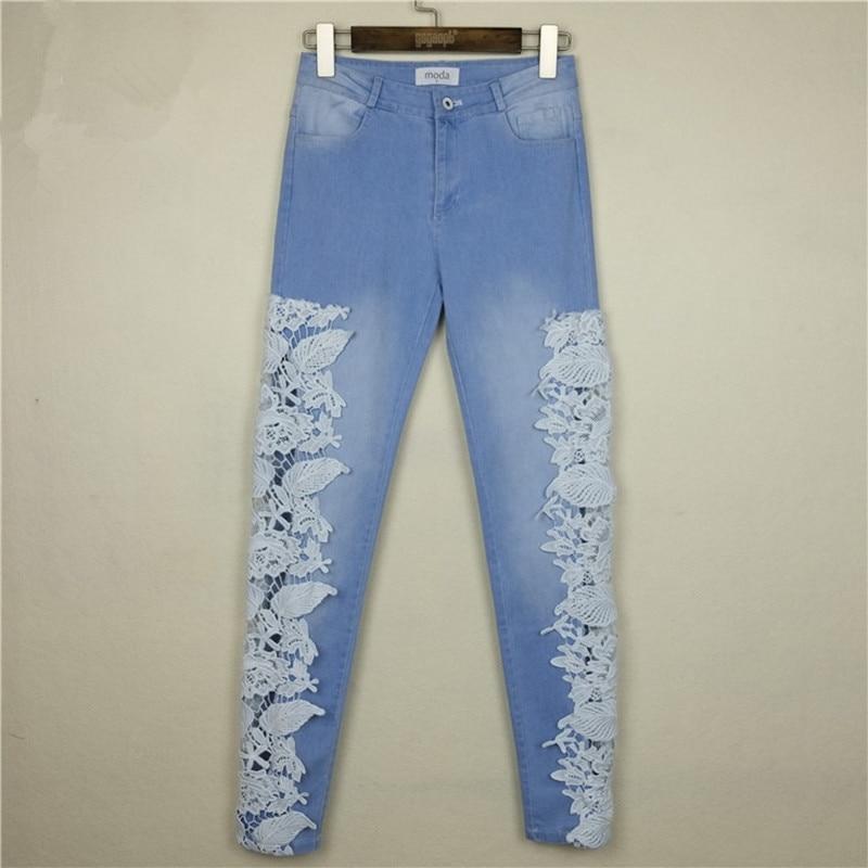 f6d5d6b943e De Gran Tamaño S XXXL 2016 Jeans Para Mujeres Sexy Crochet Lace Patchwork  Hollow Out Jean de Mezclilla Azul Pantalones Flacos Pantalones P8103 en  Pantalones ...