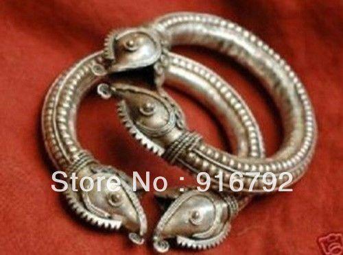 free P&P >>>>>Tribal Wind Double Heads Pangolin Tibet Silver Women Men Bangle Bracelet Jewelry