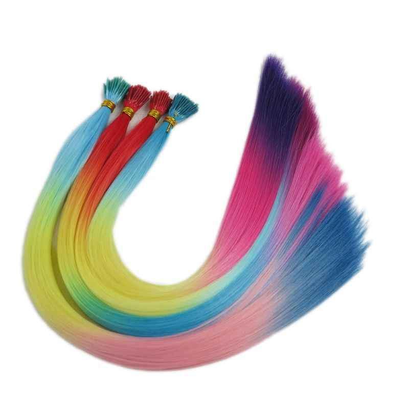 """Luksusowe do zaplatania 22 """"100 nici/partia prosto kolor tęczy zielony żółty różowy syntetyczny I końcówki pióra do włosów rozszerzenia"""