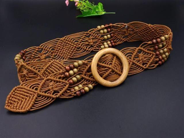 Nuevo Vintage tejido cuerda de cera de madera Cordón de la cintura mujeres liso hebilla cinturón mujer hueco tejido a mano-Cinturón trenzado de cuentas