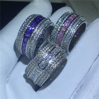 3 colors Luxury Finger ring White Gold Filled AAAAA Cubic Zirconia Engagement Wedding Band Rings for women men Party Jewelry
