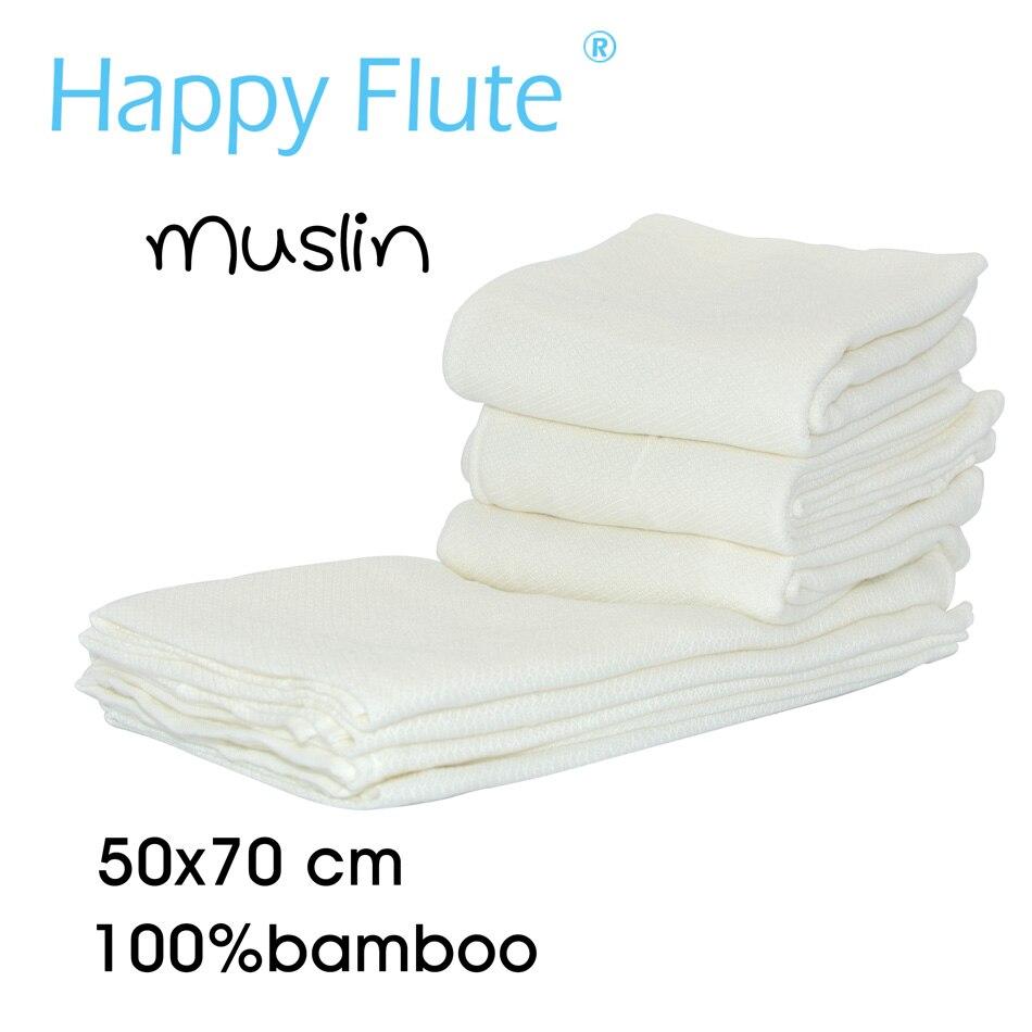 (10pcs/lot)Happy Flute Baby Muslin Squares Cloth 100% Bamboo Reusable Nappy Bibs Wipes Burp Cloth Nappy Liners Baby Feeding Wipe