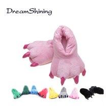 DreamShining Зима Теплая Мягкая Крытый Этаж Тапочки Женщины Мужчины Детская Обувь Paw Смешные Рождество Монстр Динозавров Коготь