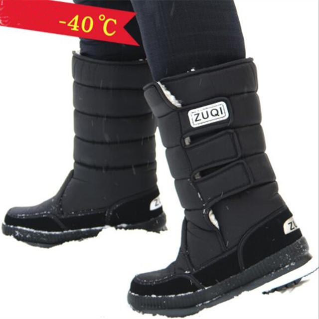 New winter  Middle tube Male snow boots Thick and warm men's Boots Flat bottom antiskid and warm cotton boots  Large size 38-47