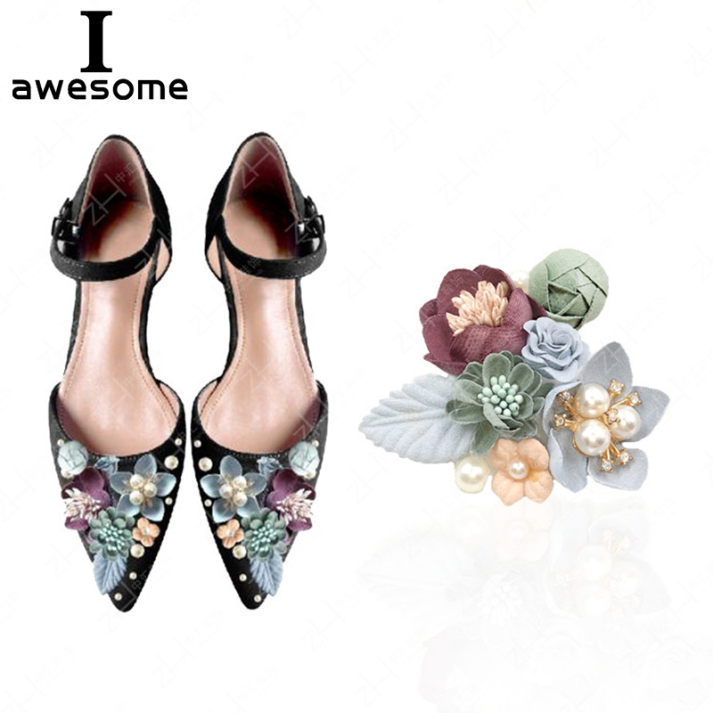 Flowers Leaf Bridal Wedding Party Shoes Accessories For High Heels Shoes Boots DIY Manual Pearl Boots Shoe Decorations Flower