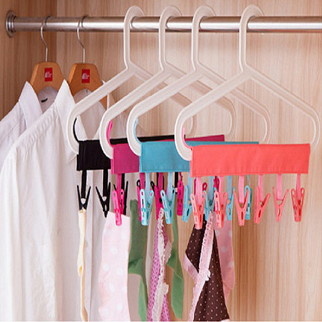 Portable Clothes Rack Socks Drying Cloth Hanger Rack Clothespin Laundry Storage Organization Drying Racks with Clip