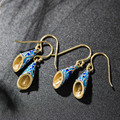 Sukhothai silver finished 925 silver cloisonne craft retro White Butterfly Earrings national Shaolan
