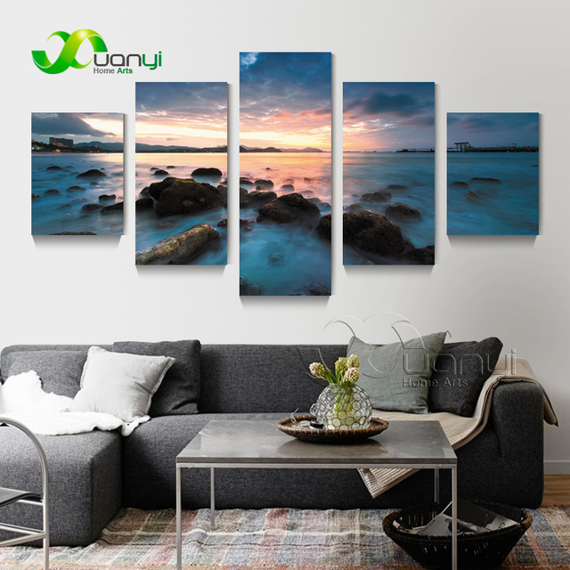 5 Piece Wall Art Sets Ocean View Paintings Canvas Picture For Living Room  Ocean View Oil