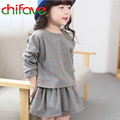 2015 Autumn New Girls Long Sleeve Skirt Suits Baby Girls Fashion Plaid England Style Skirt Sets Cute Autumn Girls Clothes Sets