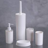 5pcs Plastic Elegant Brush Bottle Cleaner Bathroom Accessories Set Collection, Soap Dish Lotion Dispenser Bottle Tumbler Toliet