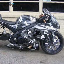 Cheshjon Arctic Camouflage Vinyl Adhesive Black White Grey Camo Film Military Motorcycle Scooter Decal Wrap Color