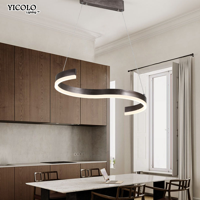 Coffee Color Modern led pendant lights for living room dining room S shape Lights LED Lighting indoor home Lamp fixtures deco потолочная люстра odeon kabris 2934 8c page 3