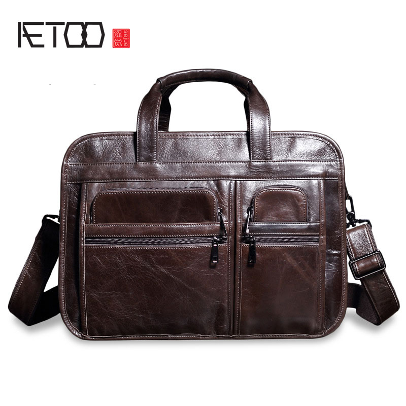 AETOO Europe and the United States retro oil leather men bag large capacity leather briefcase import the first layer of yellow l europe and the united states style first layer of leather lychee handbag fashion retro large capacity solid business travel bus