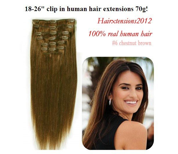 18-26 inch clip in human hair extensions real human hair 7pcs #6 chestnut brown Hair extension Hair extension Free mail