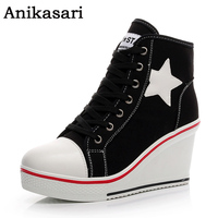 Size 35 42 Canvas Shoes Women Casual Elevator Platform Shoes Female High Top Hidden Wedge Heels