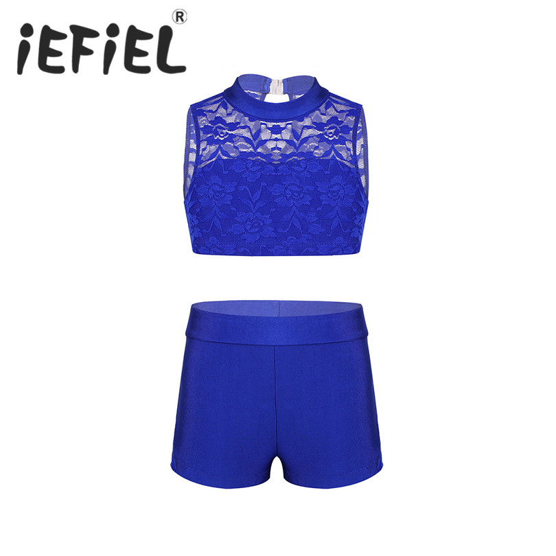 Cute Children Kids Girls Athletic Outfit Floral Lace Tank Top with Bottoms Set for Ballet Dance Gym Workout Stage Performance