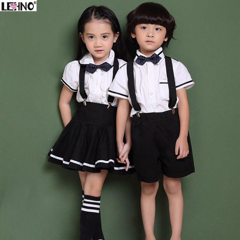 Marken LEHNO Kinder Schuluniformen für Jungen und Mädchen Weiß Sommer Baumwolle Bluse/Hemd + Strap Rock/Shorts + Bowtie 3t-12y