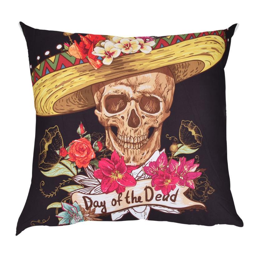 Skulls Print Cushion Cover