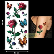 1PC Fashion Women Men Waterproof Temporary Tattoo Removable Simulation Vivid Body Art 3D-10 Butterfly Barbed Wire And Roses