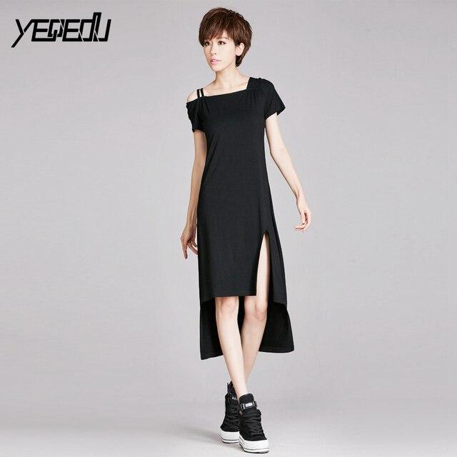 88b3e9cdbe2 #1382 One shoulder Off Black dress women Summer 2018 Sexy Crop top  Asymmetrical Short sleeve t shirt dress Tide Split dresses