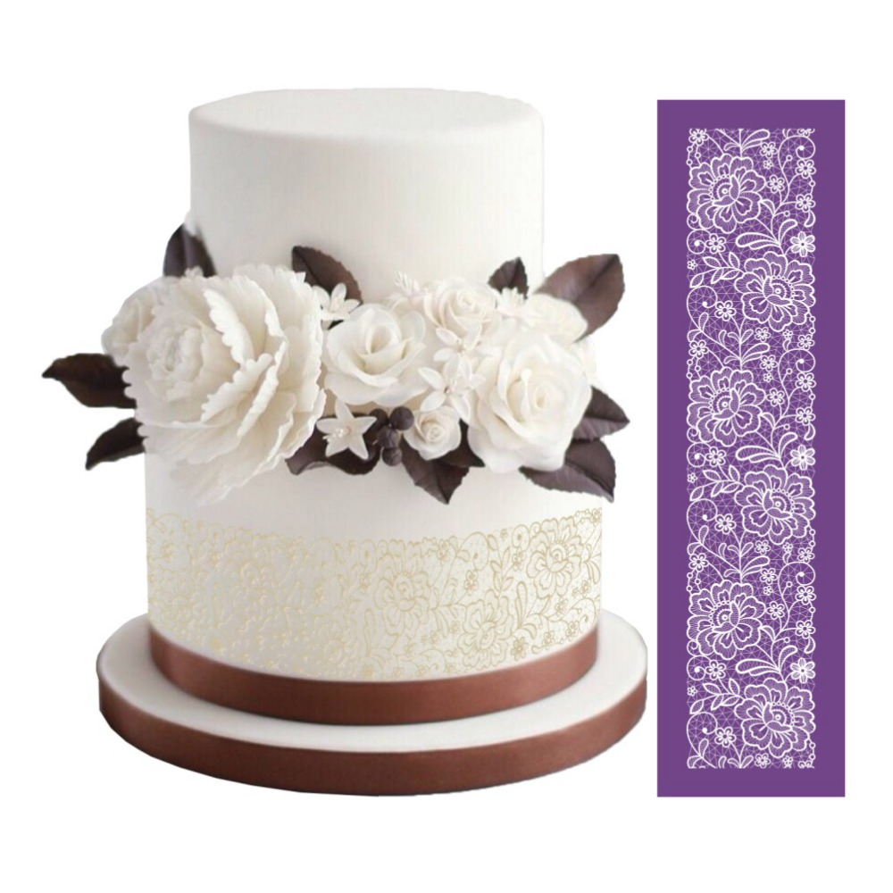 lace templates for cakes - new design flowers cake mesh stencils lace fondant mat for