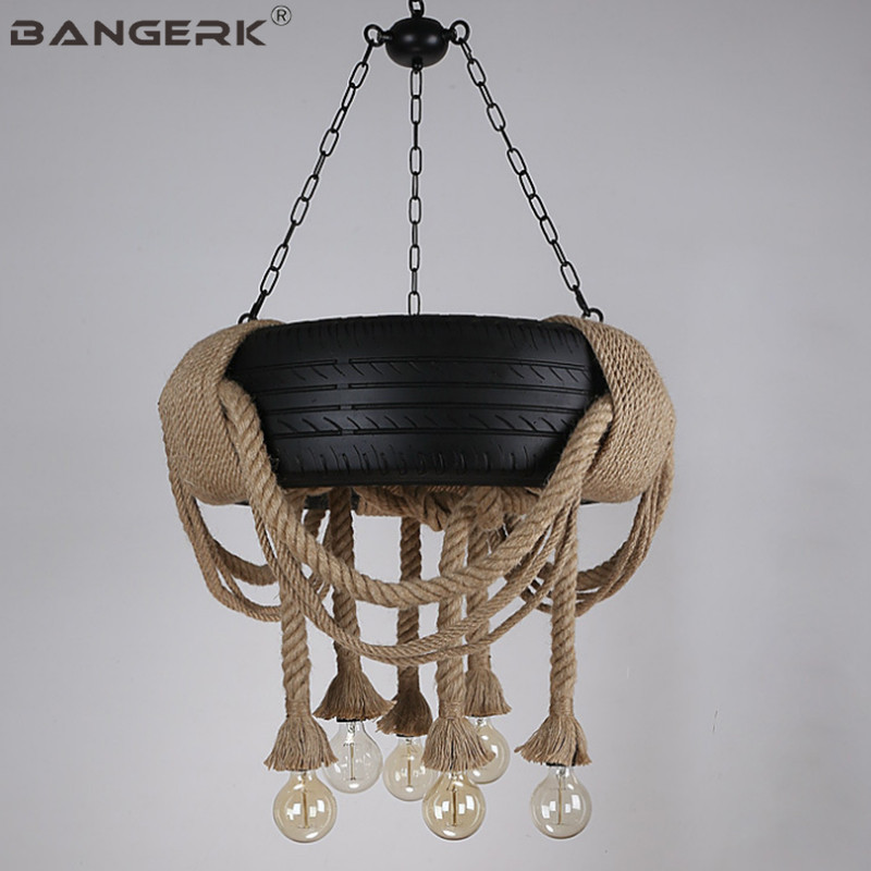 Nordic Design Hemp Rope Tires Loft Pendant Light LED Edison Vintage Industrial Wind Hanging Lamp Pendant Lighting Home Decor