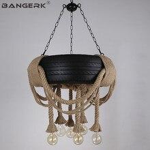 купить Nordic Design Hemp Rope Tires Loft Pendant Light LED Edison Vintage Industrial Wind Hanging Lamp Pendant Lighting Home Decor по цене 39078.07 рублей