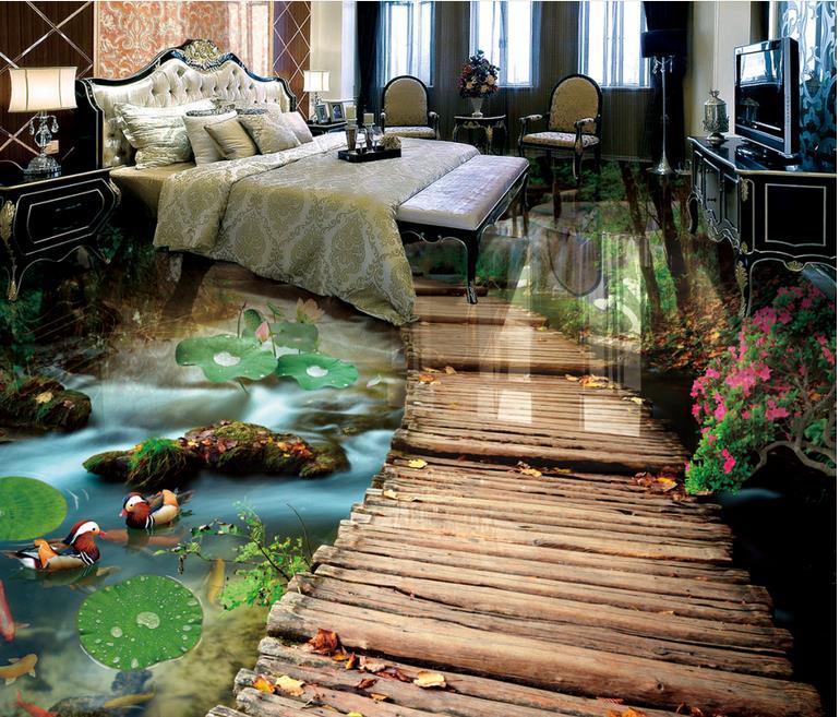 Custom 3d floor tiles photo wallpaper bridge water 3d for Wallpaper pvc 3d