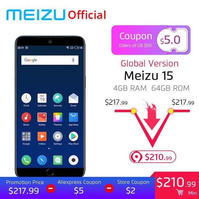 "Глобальная версия Meizu 15 4 Гб 64 Гб Смартфон Snapdragon 660 Octa Core 5,46 ""1920x1080 P экран отпечатков пальцев ID Быстрая зарядка"