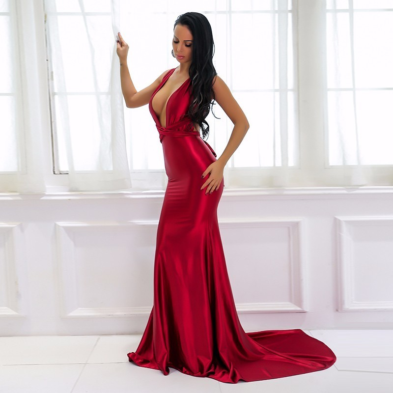 0b8ee75725fd1 US $33.81 5% OFF|Yissang Elegant Backless Satin Maxi Dress Women Summer Red  Dresses Party Sexy Long Christmas Dress Bandage Ladies Vestidos-in Dresses  ...