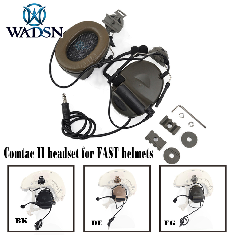 WADSN Comtac II Headset With Peltor Helmet Rail Adapter Set For FAST Helmets Military Airsoft Tactical