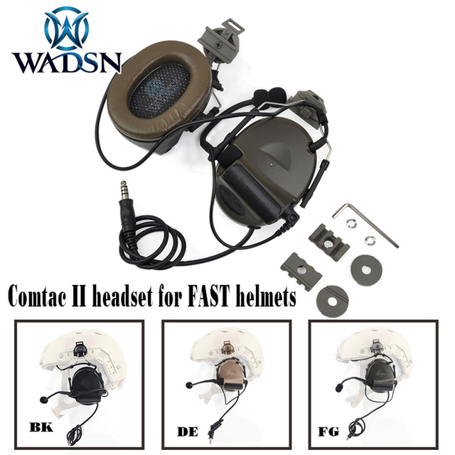 WADSN Comtac השני Softair אוזניות עם Peltor קסדת רכבת מתאם סט עבור מהיר קסדות צבאי Airsoft טקטי C2 אוזניות Z031