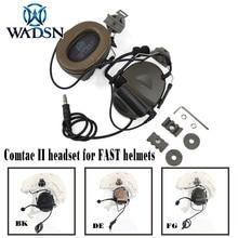 Wadsn comtac ii 빠른 헬멧을위한 peltor 헬멧 레일 어댑터가있는 softair 헤드셋 군사 airsoft 전술 c2 헤드폰 z031
