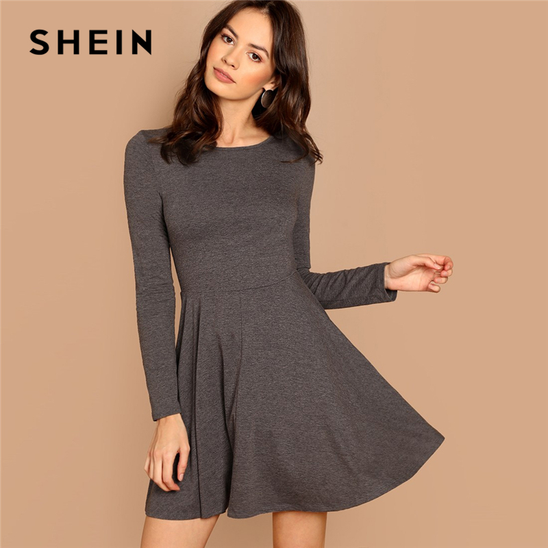 f78eb50e997 SHEIN Grey Fit and Flare Heathered Knit Dress Casual Long Sleeve Round Neck  A Line Dresses