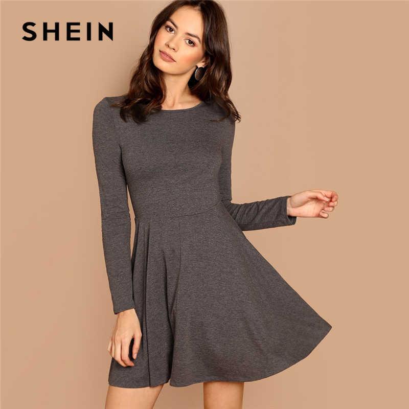 SHEIN Grey Fit and Flare Heathered Knit Dress Casual Long Sleeve Round Neck A Line Dresses Women Autumn Stretchy Short Dress