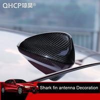 QHCP Car Roof Shark Fin Trim Real Carbon Fiber Roof Antenna Shark Covers Black Decorative Stickers For Alfa Romeo Giulia Stelvio