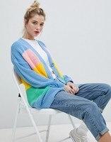 Striped Color Rainbow Sweater Women's Loose OL Commuter Knit Cardigan