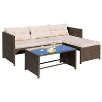 Патио мебель наборы для ухода за кожей 4 шт. плетеная открытый диван секционный диван из ротанга дворе крыльцо Сад у бассейна балкон с подушк