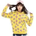 Amarelo bonito Rosquinhas Impressão Mulheres Hoodies Das Mulheres Camisolas Com Capuz Casuais Pulôveres de Manga Longa Partes Superiores Das Meninas Moda Sudaderas Mujer