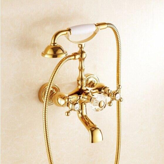 N Роскошные Античная Стиль золото Для ванной смеситель Керамика ручки & Handheld Насадки для душа кран Для ванной смеситель комплект смеситель д
