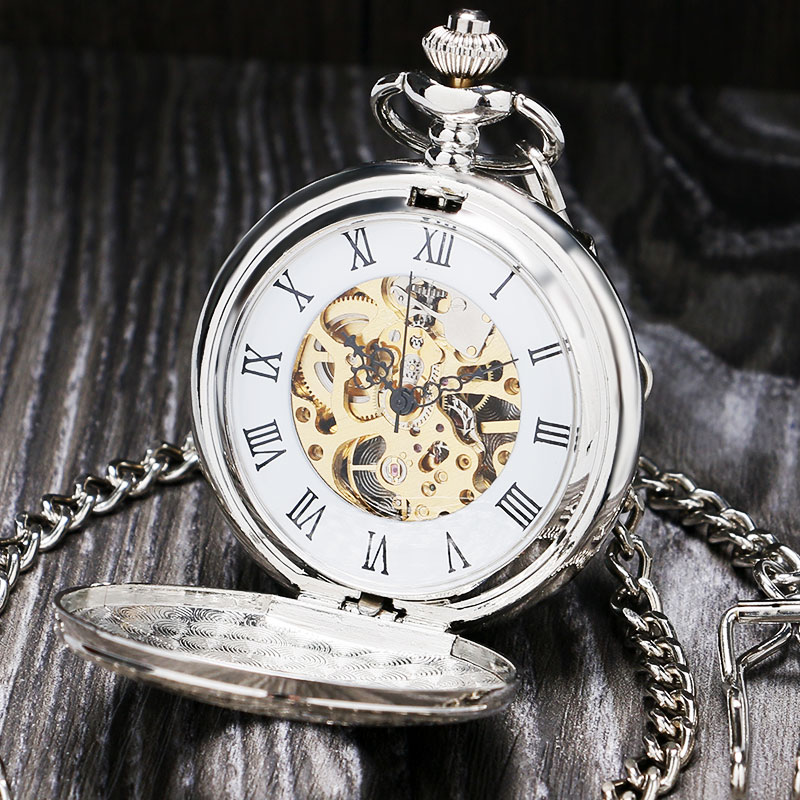 Vintage Silver Roman Number Mechanical Pocket Watch Double Open Hunter case fob watch P803C ks retro silver roman number hexagon analog snow hunter chain skeleton mechanical clock jewel male relogio pocket watch ksp101