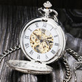 Vintage Silver Roman Number Mechanical Pocket Watch Double Open Hunter case fob watch P803C