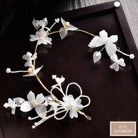 Noiva cocar coreano fios de seda branca borboleta hairband hoop cabelo tiara do casamento acessórios de jóias por atacado