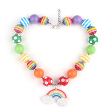 2017 Summer Hot Sale Kids Children Chunky Solid Beads Strand Necklace Girls Chokers Necklace Polymer Rainbow Pendant Necklace