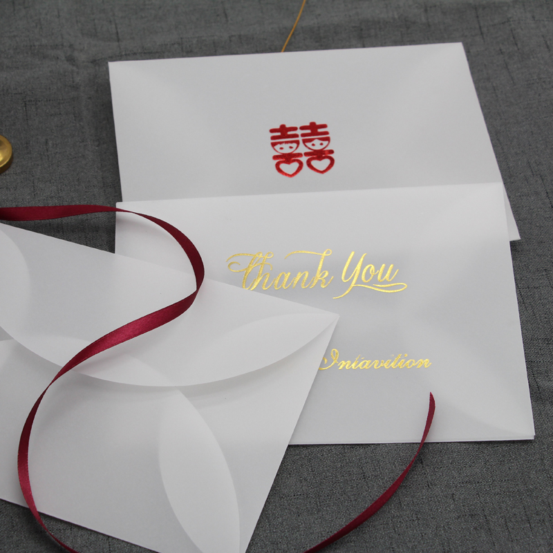 20pcs/set Bronzing Greeting Wishes Sulfuric Acid Paper Envelope Thicken European Translucent Envelope For Birthday Christmas Wed