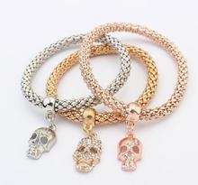 new Arrival SBY1458 fashion Ladies delicate wild temperament metal gold chain Multilayer Skull bracelets Gifts Aliexpress